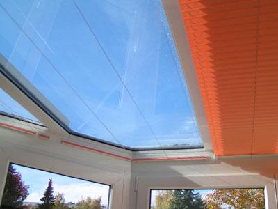 Plafond Plissees im Wintergarten