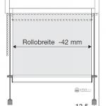 Skizze der Bestellmaße für Rollos mit Seitenzug und Pendelsicherung.