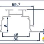 Skizzierter Querschnitt des Einbauprofils für Vertikaljalousien.