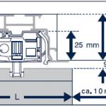 Querschnitt des Einbauprofils von Vertikallamellen.
