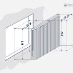 Aufmaßzeichnung einer Vertikaljalousie mit Überlappung.