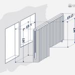Aufmaßzeichnung einer Vertikaljalousie mit einer Wendung.