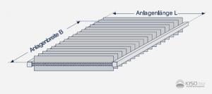 Aufmaßzeichnung einer waagerechten Plafondvertikaljalousie.