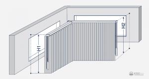 Skizze einer Vertikalanlage in einem eckigen Erker.