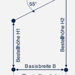 Skizzierte Bestellmaße einer schrägen Vertikaljalousie.