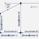 Skizze der Bestellmaße für eine Vertikaljalousie Typ 60/61.