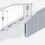 Darstellung einer Vertikalanlage mit gerader Mitte und schrägen Seiten.