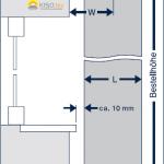 Querschnitt der Montage von Vertikaljalousien in Plafondfenstern.